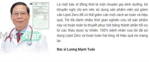 Bác sĩ Lương Mạnh Tuấn cũng chia sẻ về Lipid Zero