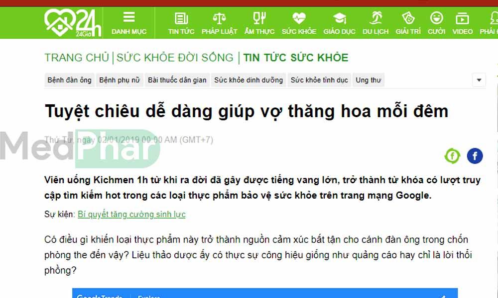 Báo 24h.com.vn đưa tin về Kichmen 1h