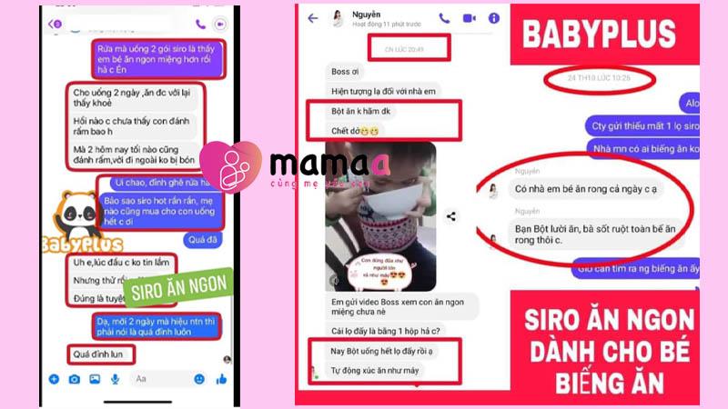 Siro ăn ngon Baby Plus review từ khách hàng